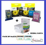 imagen PACK CARTUCHOS ALTERNATIVO HP664 (HP 664) XXL + RESMA CARTA (22 ml Negro, 21ml Color) NEGRO + COLOR + RESMA